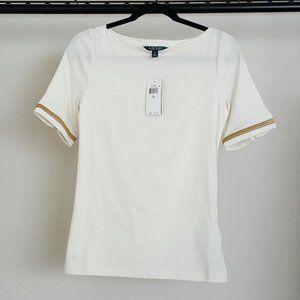 Lauren Ralph Lauren Boatneck Top Shirt NWT size M